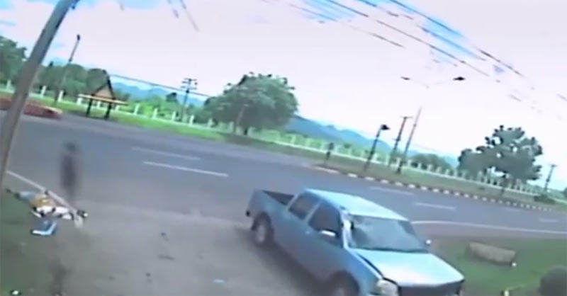 See shocking moment ghost evaporated from woman's body during fatal accident