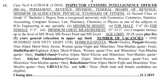 158 Posts of Custom Inspector and Intelligence Officer jobs 2019 By FPSC