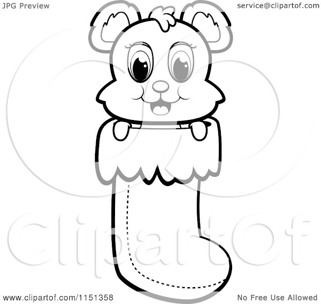 Cartoon Clipart Of Black And White Cute Baby Bear In Christmas Stocking   Vector Outlined Coloring Page By Cory Thoman