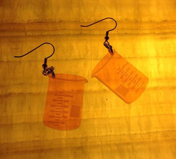 lazer engraved beaker earrings