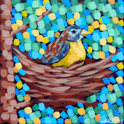 Robin's Nest painting by artist aaron kloss, songbird painting, robin painting, aaron kloss, pointillism, duluth artist, duluth painter, minnesota landscape painting