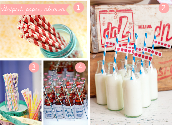 striped paper straws, cannucce a righe colorate