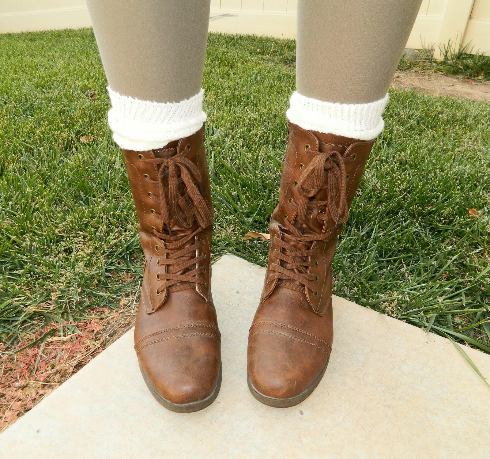 brown boots, lace up boots, leg warmers