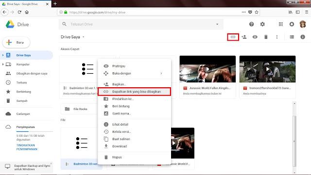 """Atau Sobat juga bisa Klik kanan filenya, kemudian Sobat pilih """"Dapatkan Link Yang Bisa Dibagikan""""."""