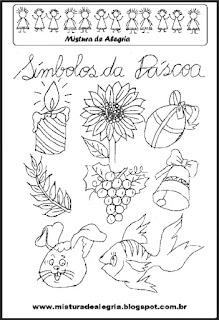 Desenho símbolos da páscoa