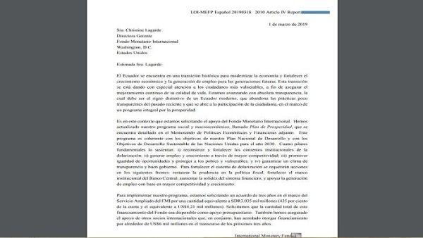 Acuerdo Ecuador-FMI establece reducir subsidios y aumentar IVA