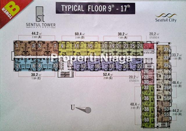 Layout-Launching-Sentul-Tower-Apartemen-B-lantai-9