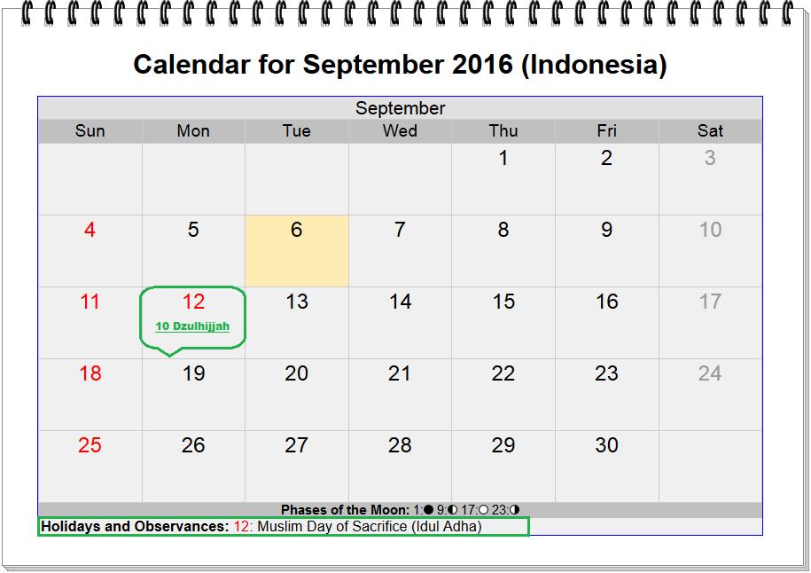 gambar kalender lebaran haji hari raya kurban tanggal 10 2016 hijriyah 10 dzulhijjah