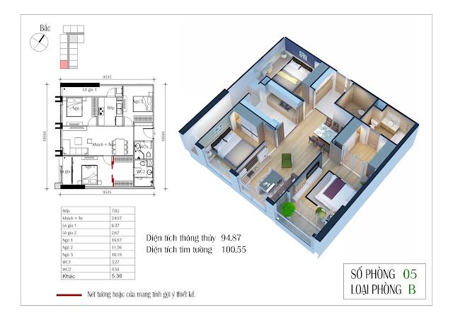 Thiết kế căn hộ số 05: 94,87m2