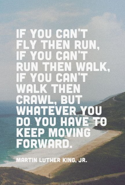 If you can't fly then run, if you can't run then walk, if you can't walk then crawl, but whatever you do you have to keep moving forward. - Martin Luther King, Jr.