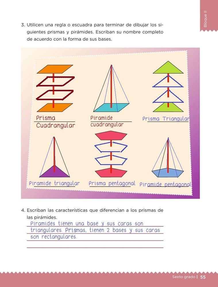 Libro de textoDesafíos MatemáticosDesplazamientosSexto gradoContestado pagina 55