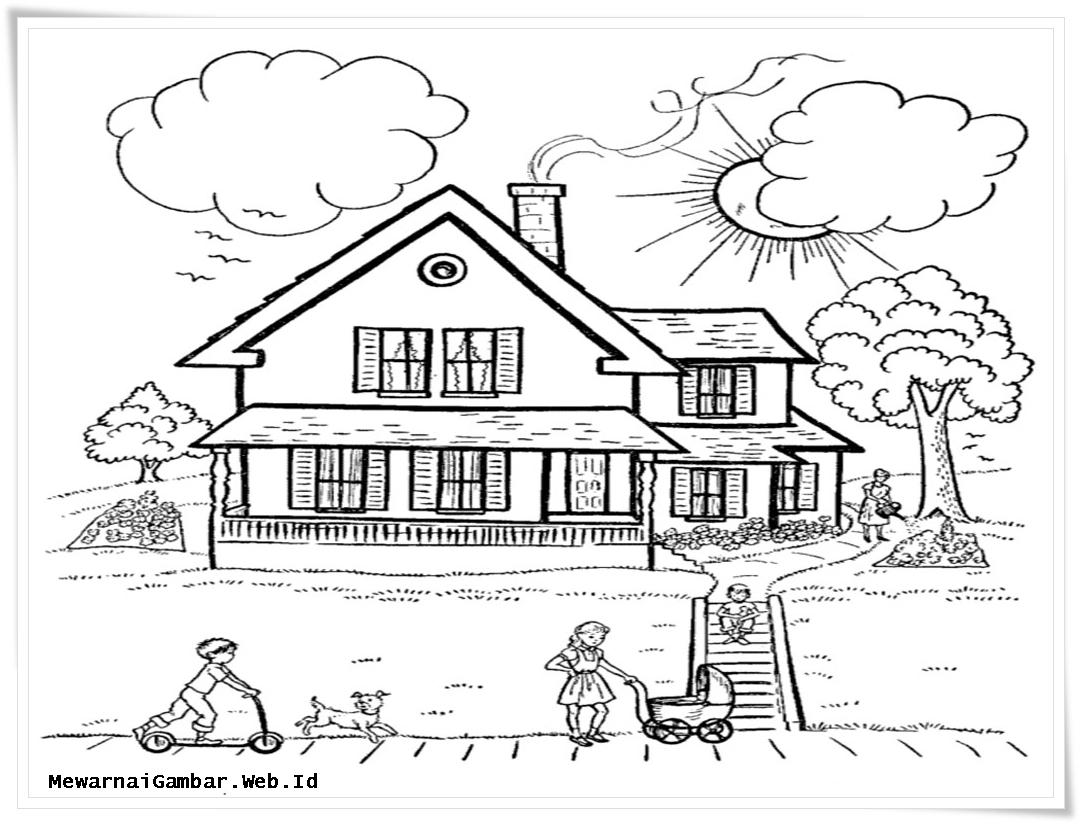 Gambar Lingkungan Rumah Hitam Putih - Gambar Con