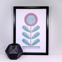 Abstract geometric flower A4 print and stitch on card paper pricking hand embroidery pattern for picture making.