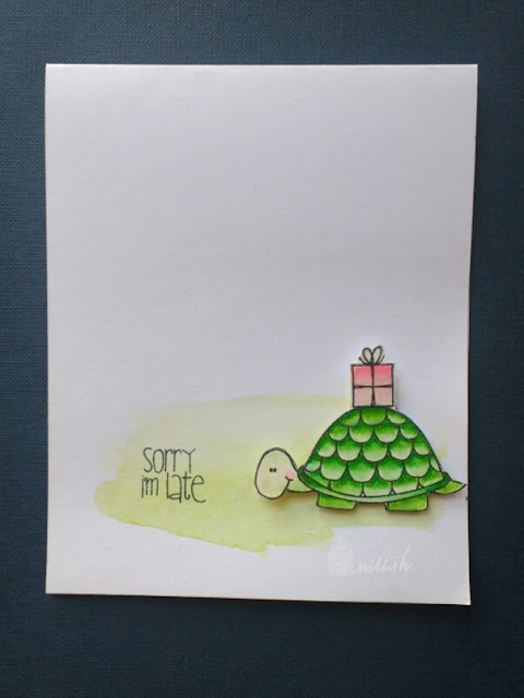 Belated wishes, tortoise stamp, tortoise card, cards by ishani, quillish