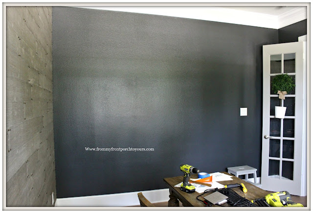 Home Office Makeover-DIY-Sherwin Williams- Iron Ore-Charcoal Walls-Black Painted Walls-From My Front Porch To Yours