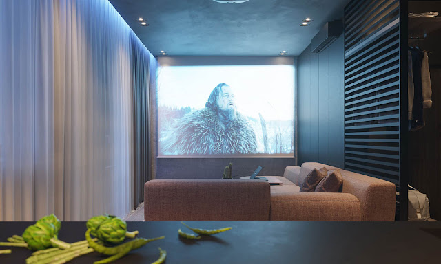 A media projector provides a large scale viewing screen without adding any bulk to the wall