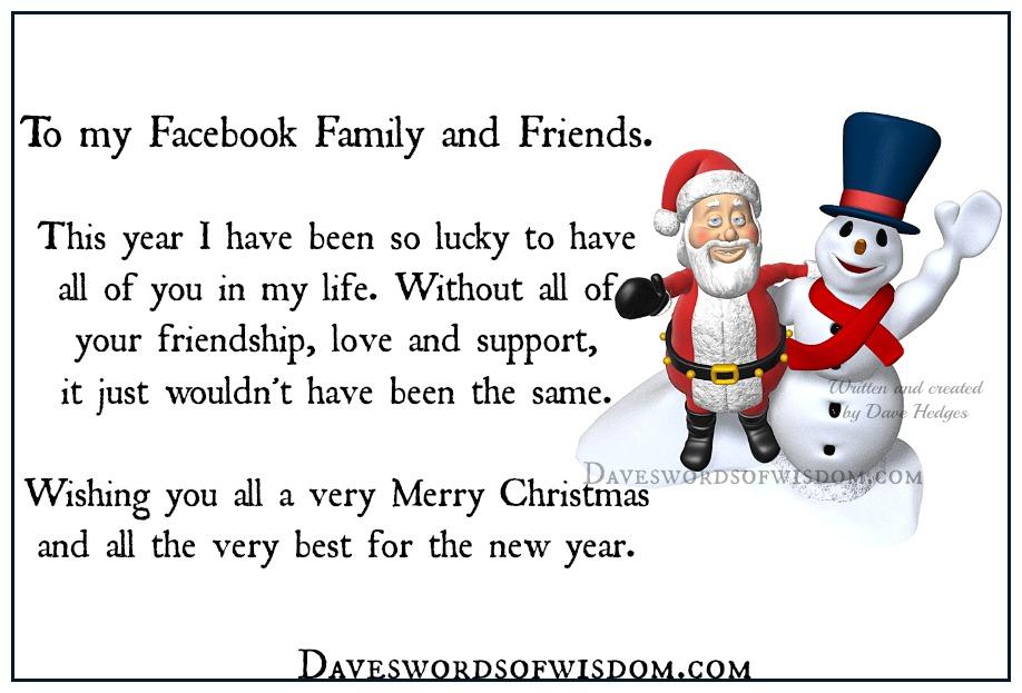 Merry Christmas Friends And Family.Daveswordsofwisdom Com To Facebook Family Friends Merry