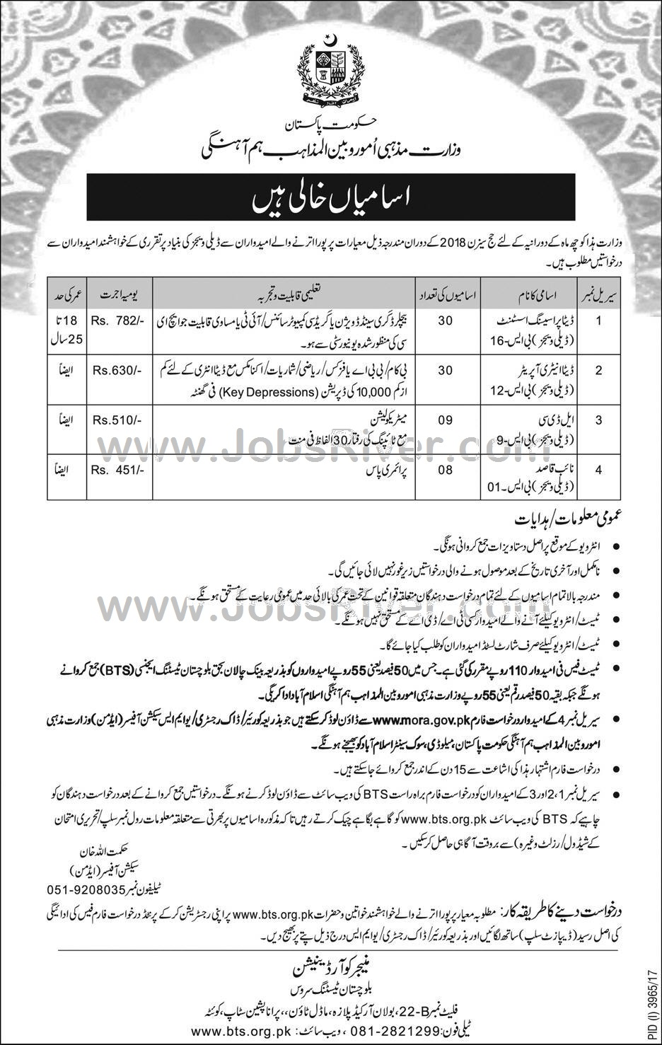 Jobs In Ministry Of Religious Affairs Govt Of Pakistan Quetta January 2018