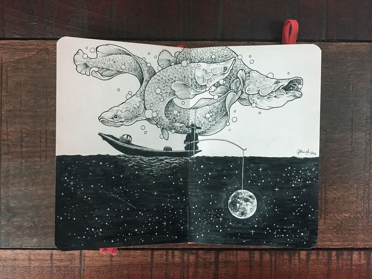 09-Patience-and-Fishing-Kerby-Rosanes-Detailed-Moleskine-Doodles-with-many-Whales-www-designstack-co