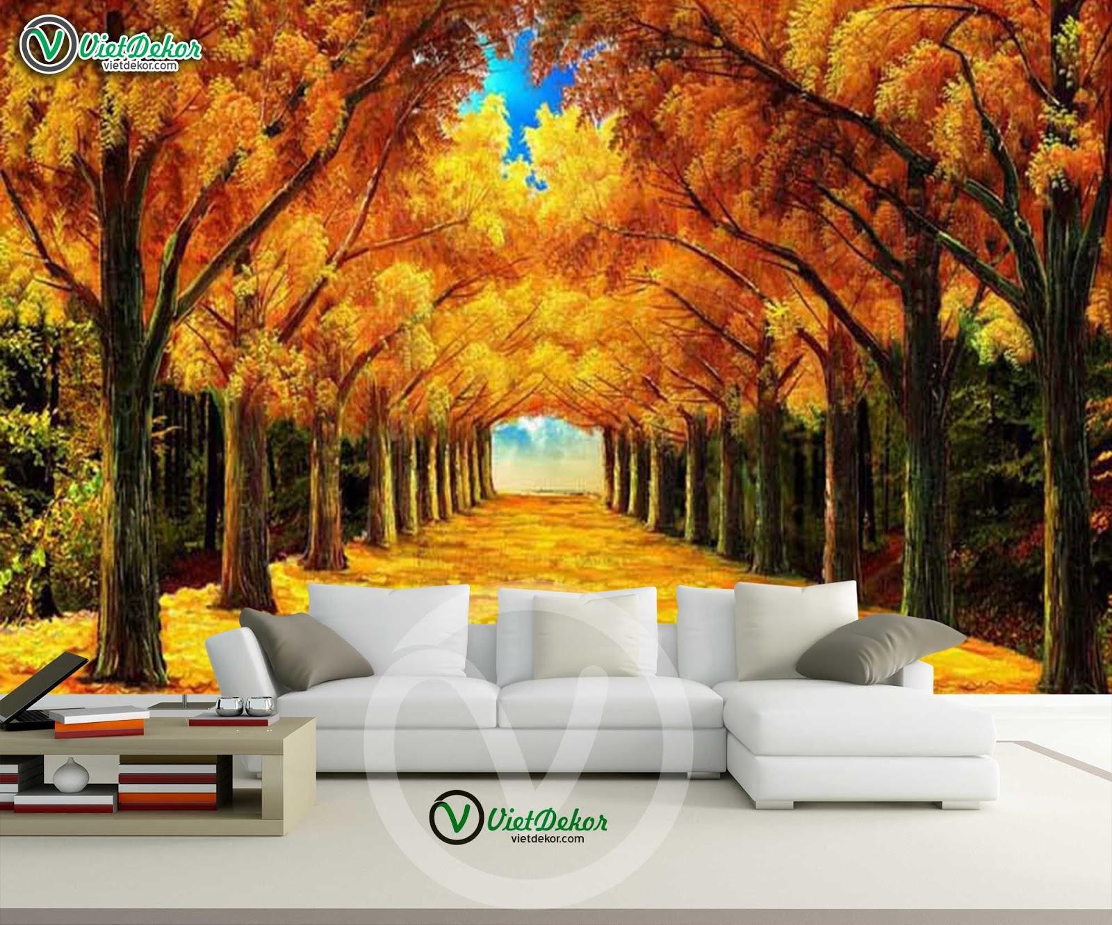 Tranh dán tường phong cảnh cánh rừng cảnh mùa xuân