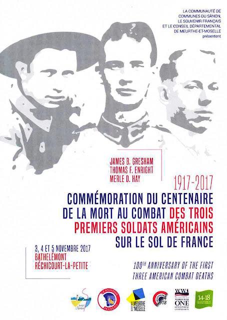 BATHELEMONT ET RECHICOURT-LA-PETITE (54) - Commémoration du Centenaire de mort des morts des 3 premiers américains (27 oct - 5 nov. 2017)