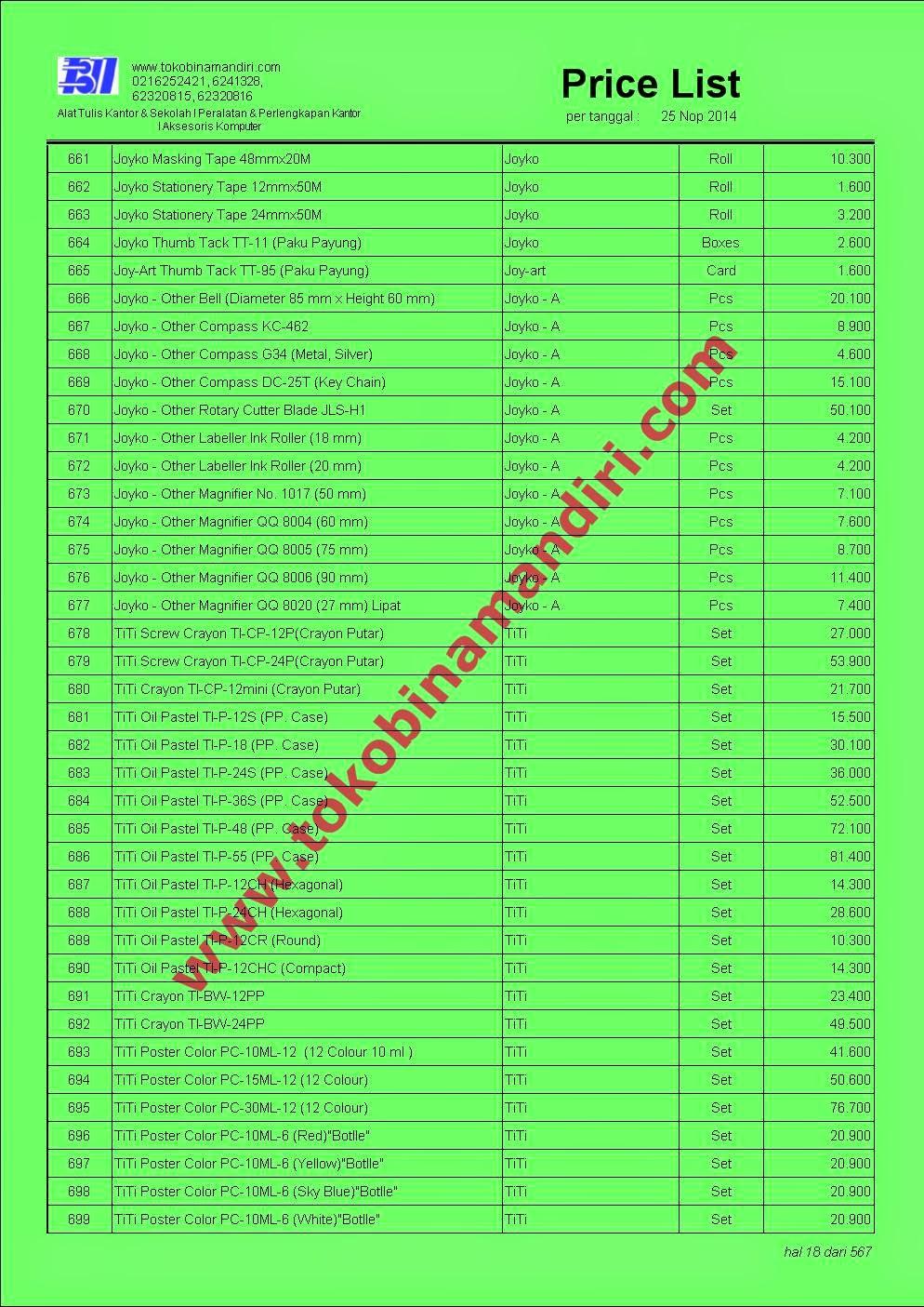 Price List Peralatan Kantor 2015