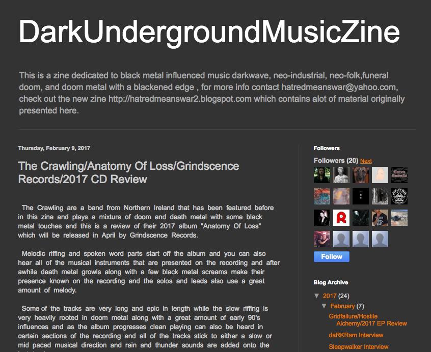CD review: \'Anatomy Of Loss\' - DarkUndergroundMusicZine