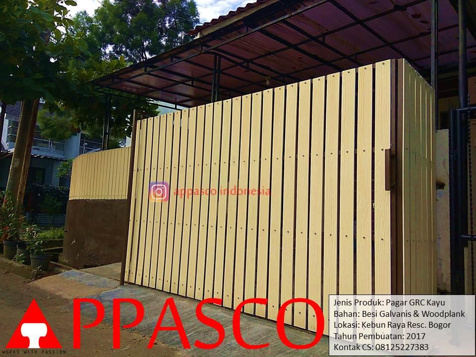 Pagar GRC Kayu Woodplank di Kebun Raya Residence Bogor