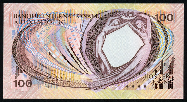 Luxembourg money 100 Francs banknote
