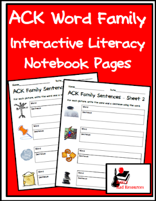 ack word family interactive literacy notebook pages or activity sheets - free download from Raki's Rad Resources