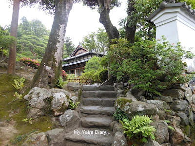 Steps in the Yoshikien garden in Nara, Japan