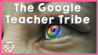 picture of google colors in an eye with words Google Teacher Tribe