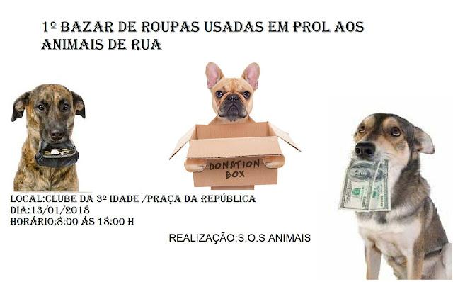 Borrazópolis:Bazar solidário para ajudar animais de rua acontece neste sábado