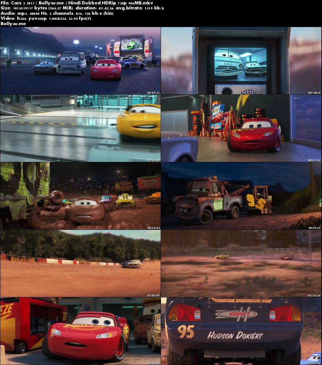 Cars 3 2017 HDRip 300MB Full Hindi Dubbed Movie Download 480p