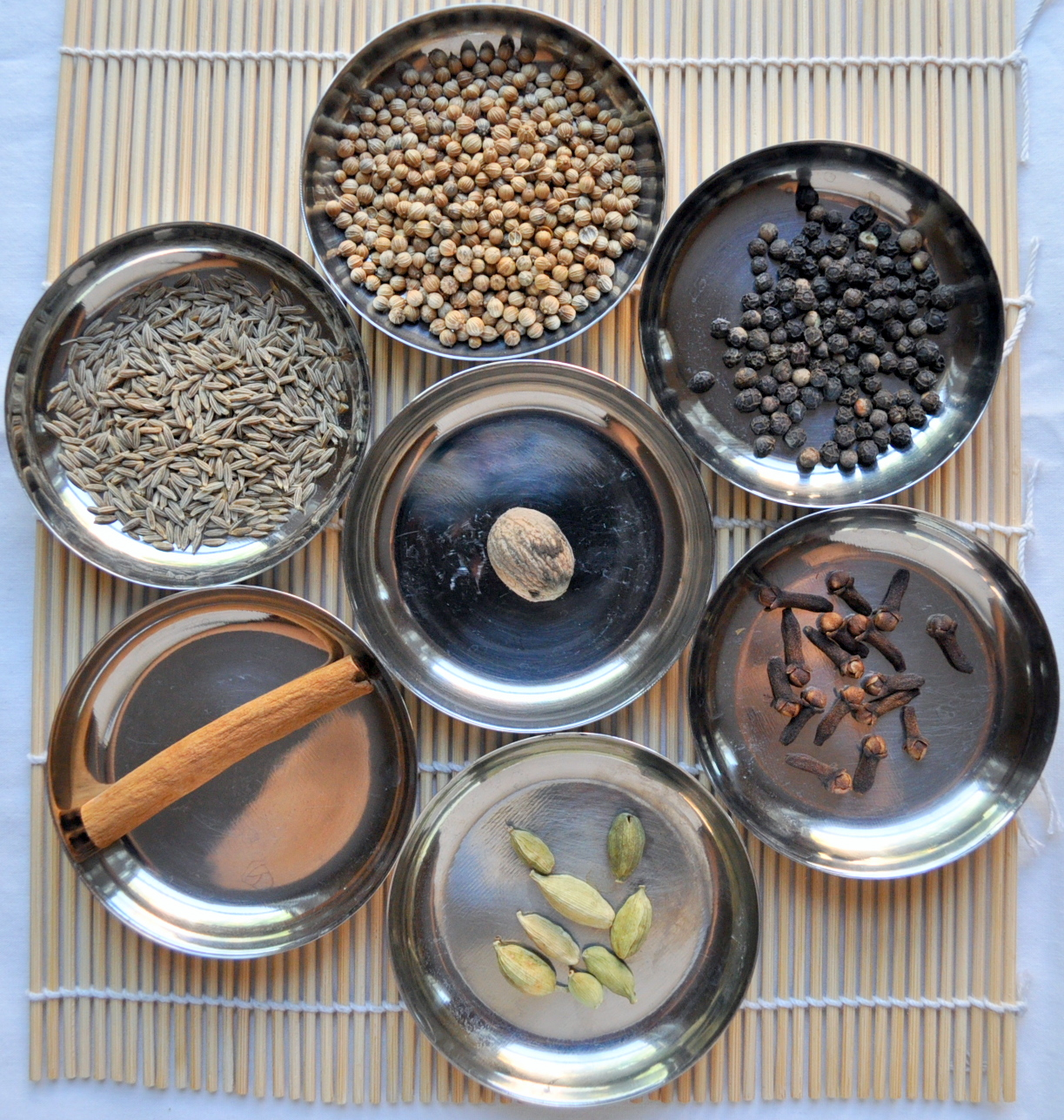 How to build an indian pantry garam masala the hathi cooks the ingredients center nutmeg clowise from top coriander black pepper cloves cardamom cinnamon cumin forumfinder Gallery