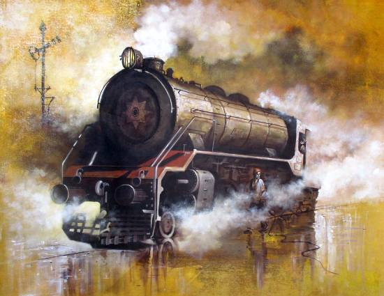 Nostalgia of Steam Locomotives, painting by Kishore Biswas (part of his portfolio on www.indiaart.com)