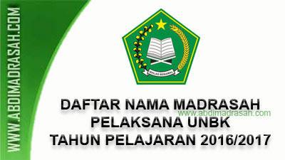 Daftar Nama Madrasah Pelaksana Ujian Nasional Berbasis Komputer (UNBK) Tahun Pelajaran 2016/2017