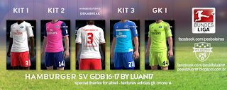 Hamburger SV Adidas kit 2016-17 Pes 2013
