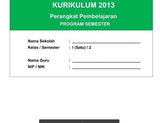 Program Semester Kurikulum 2013 SD Kelas 1 Mapel PJOK Semester 2  Revisi Tahun 2016