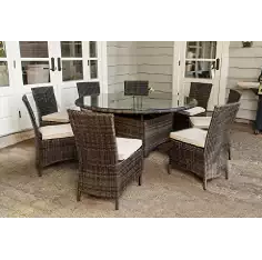 Outdoor Furniture, Wicker Dining Set, Creative Living Monte Carlo 9 Piece Round Patio Dining Set