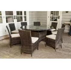 Outdoor Furniture, Wicker Dining Set, Creative Living Monte Carlo 9 Piece Round Patio Dining Set