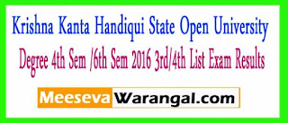Krishna Kanta Handiqui State Open University Degree 4th Sem /6th Sem 2016 3rd/4th List Exam Results