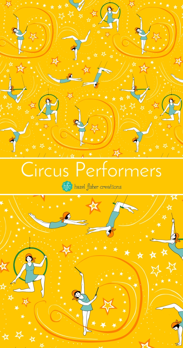 Circus Performers 1920s Acrobatic Girls fabric design by Hazel Fisher Creations, Spoonflower weekly design challenge entry, surface pattern design