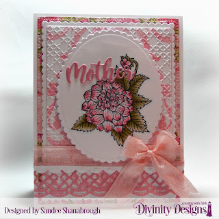 Divinity Designs Stamp Set: Grandmother's Heart, Custom Dies: Scalloped Ovals, Scalloped Rectangles,  Beautiful Borders, Family Names 1, Bitty Borders, Pierced Rectangles, Embossing Folder: Cross Stitch, Mixed Media Stencil: Damask, Paper Collection: Pretty Pink Peonies