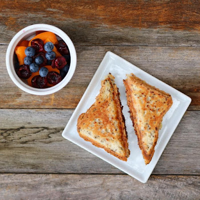 Vegemite and Cheese Toasties with Fresh Summer Fruit Salad