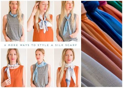 6 formas de moda para colocarse un pañuelo de seda