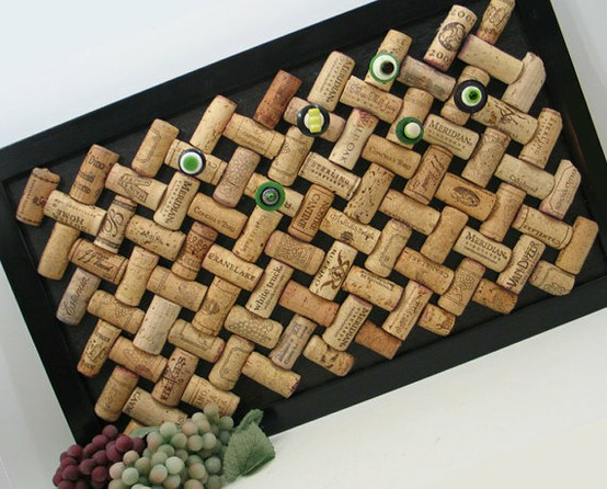 Lisa mende design what to do with those leftover wine corks for Making a cork board from wine corks