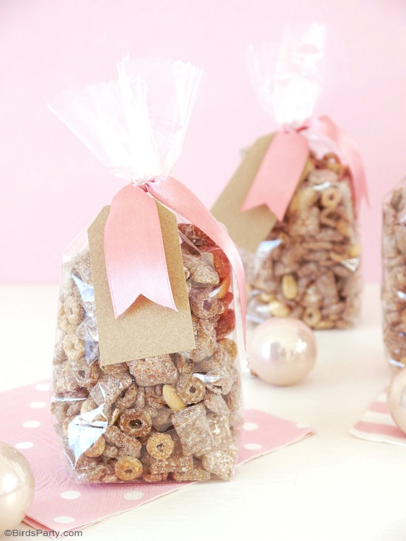 The Perfect Holiday Party Snack - learn to make this quick and easy Chocolate and Peanut Butter Cheerios™ Chex™ Muddy Buddies™ Party Mix by BIrdsParty.com @birdsparty #recipe #muddybuddies #partysnack #sweetsnack #holidaypartysnack #holidaytreats #chocolate #peanutbutter