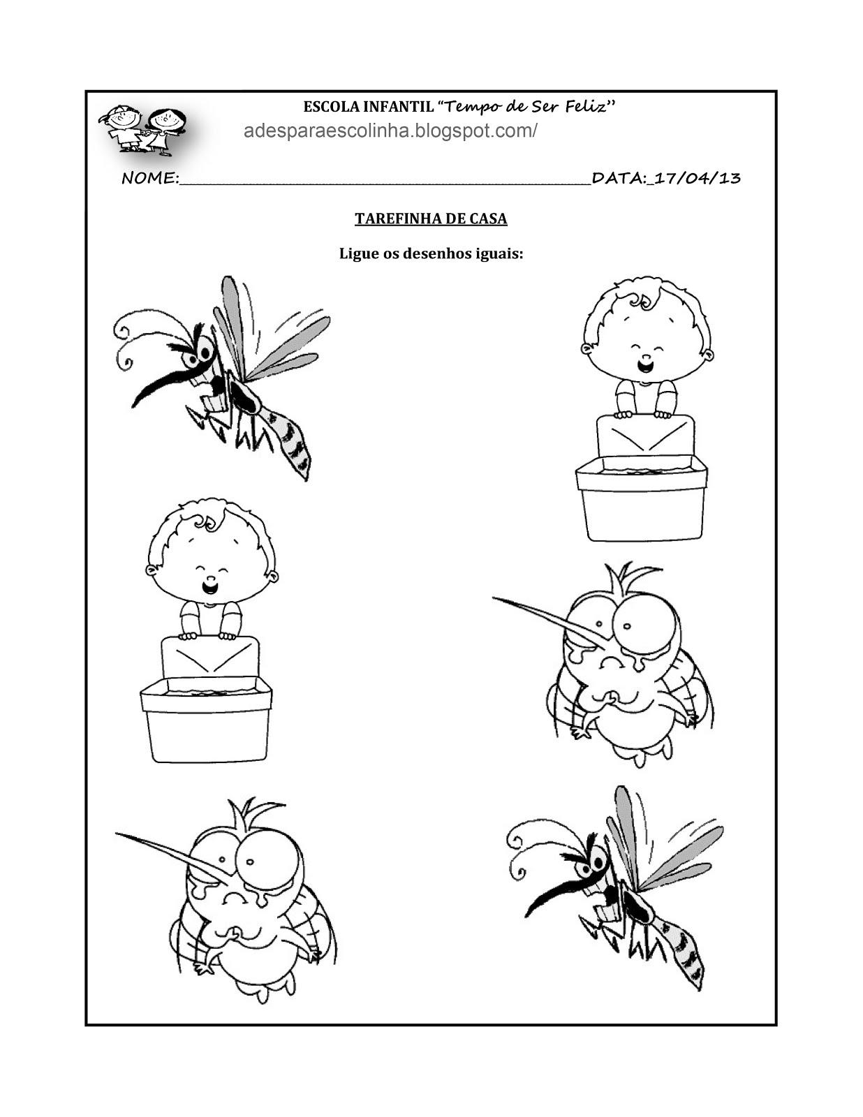 Atividades Para Escolinha Atividade Para Ligar A 1 E Mosquito Da