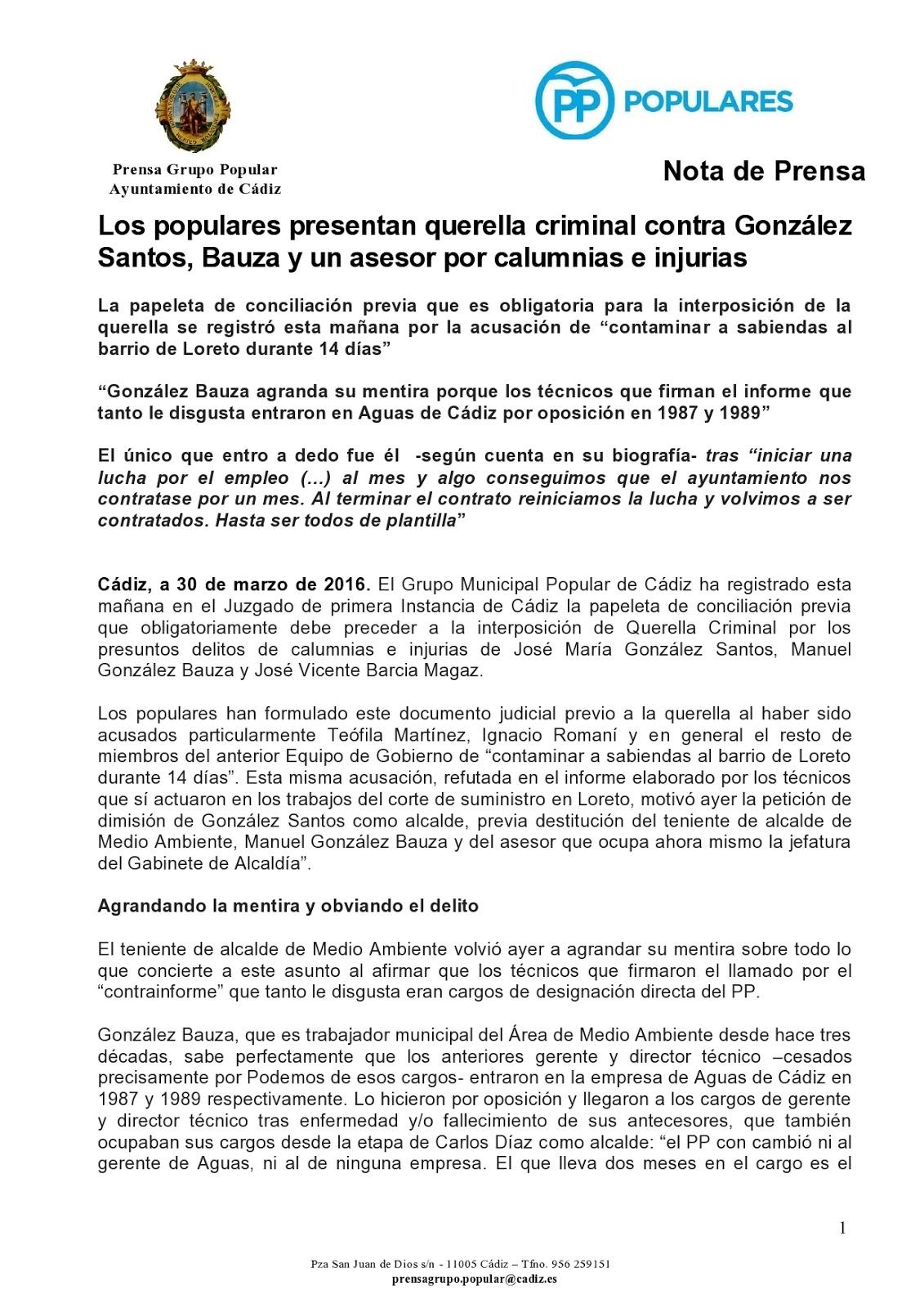 PARTIDO POPULAR CADIZ CAPITAL : marzo 2016
